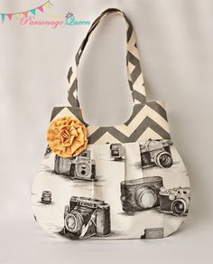 Gray Chevron and Vintage Camera Print by TheParsonageQueen on Etsy, $38.00