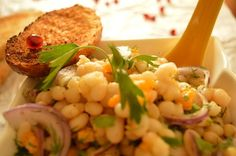 Beans are loaded with antioxidants, they are also a good source of fiber and protein, so try this white bean salad with red onion and pomegranate seeds. Good Source Of Fiber, Pomegranate Seeds, Bean Salad, White Beans, Onion, Appetizers, Red, Bean Salads, Appetizer