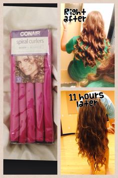 Conair Spiral Curlers..the perfect heatless curls. Put them in at night after taking a shower but make sure your hair is about 80% dry (or the curls won't dry and they will fall out) and go to sleep. When you wake up and take out the curlers, your will have perfect curls that last 2 or 3 days!