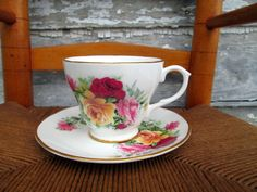 Vintage Teacup Tea Cup and Saucer Floral English