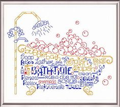 Lets Bubble Bathe - cross stitch pattern designed by Ursula Michael. Category: Words.