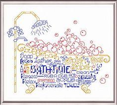 Lets Bubble Bathe - cross stitch pattern designed by Ursula Michael. Category: Words.