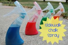 Sidewalk Chalk Spray : 1Tbsp flour, 10 drops food coloring, & 1/2 c warm water! Shake it up in the bottle and let your kid go nuts.