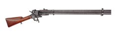 An Extremely Rare Le Mat Revolving Rifle Nº '1'  U.S.A., circa 1875  Revolving rifle with a nine-shot cilinder around a 18 mm calibre shotgun barrel below the .42 caliber top barrel. The rear sight has one solid and one folding leaf with a high front sight to match. All over numbered '1'. The cock with an extra hinged cock for firing the shotgun bullet. Separeted loading clap for bullets and shotgun cartridge