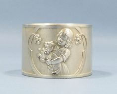 ANTIQUE ART NOUVEAU WMF NAPKIN RING HOLDER GIRL AND CAT SECESSION SILVER PLATED #WMF