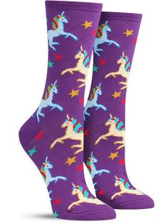 """Stick a horn to the haters in these crazy purple or black unicorn socks, proving once and for all these """"fictional"""" animals are as real as ever."""