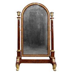 French Empire Period Ormolu Mounted Mahogany Psyche Mirror