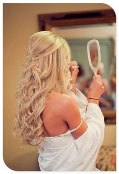 Wedding Hair Down Half up wedding hair is the perfect style for every bride, and here's why… by mavis Half Up Wedding Hair, Wedding Hair And Makeup, Hair Makeup, Hair Styles For Wedding, Wedding Down Dos, Wedding Hair Blonde, Bridal Hair Half Up With Veil, Half Up Half Down Hair Prom, Wedding Curls