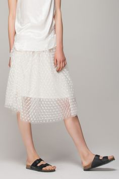 Mesh midi skirt with embroidery flower - FrontRowShop