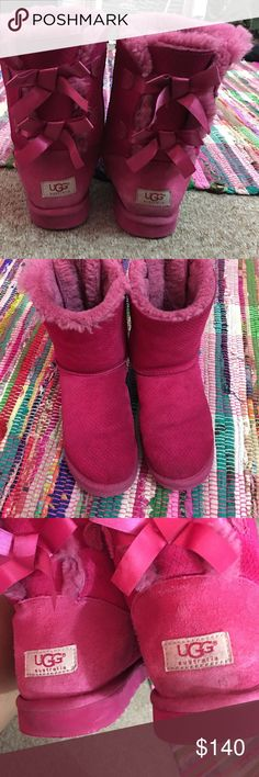 Pink baily bow uggs Pink comfortable furry baily now uggs with just 2 bows lightly worn UGG Shoes Ankle Boots & Booties