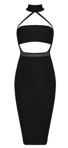 Madelyn Black Cutout Detail Bandage Dress