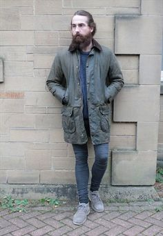 Barbour Border 80's longer length green wax jacket