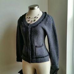 BANANA REPUBLIC....GORGEOUS SWEATER ...GREAT CONDITION ...  ...NORMAL WEAR ...NO FLAWS ...GORGEOUS  ...true to its size and color ...color..dark gray /black ...2 pic up close  ...2 pockets on front  ...clip on button closing ...ruffle lining as shown  ...long sleeve ...comfortable  ...MTRL...adding soon ...better in person Banana Republic Sweaters Cardigans