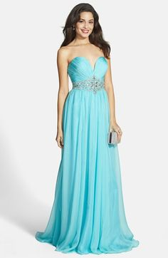 Free shipping and returns on ALYCE PARIS Embellished Ruched Strapless Chiffon Gown at Nordstrom.com. Glittering crystals are beautifully arranged in an intricate, waist-slimming design at the center of a radiant blue gown made from silky, ruched chiffon.