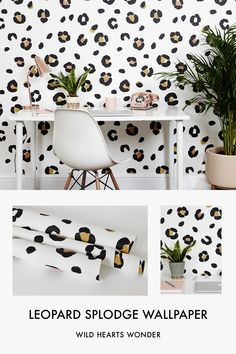 Leopard print wallpaper doesn't come much cooler than this. Monochrome with a vibrant orange tan spot. Order your swatch today Leopard Bedroom Decor, Cheetah Print Bedroom, Leopard Nursery, Leopard Room, Leopard Home Decor, Leopard Print Wallpaper, Spotted Wallpaper, Leopard Print Baby, Wallpaper Uk