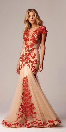 Red and Nude Lace applique evening gown
