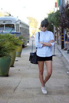 Uniqlo oxford shirt, Theory shorts, Converse high tops, bag c/o Rebecca Minkoff, Nixon watch, Mociun ring, Vintage sunglasses