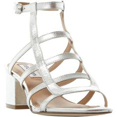 Steve Madden Ilari Cage Block Heeled Sandals , Silver (£70) ❤ liked on Polyvore featuring shoes, sandals, silver, silver strappy sandals, silver block heel sandals, steve madden sandals, block-heel sandals and block heel sandals