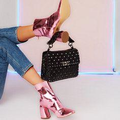 #elleryland pink metal ankle boots