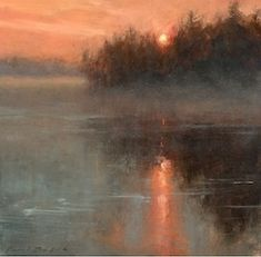 X-Paul Batch - Lake Sunrise- Oil - Painting entry - March 2015 BoldBrush Painting Competition Oil Painting Trees, Simple Oil Painting, Sunrise Painting, Lake Painting, Oil Painting On Canvas, Canvas Canvas, Watercolor Painting, Painting Clouds, Underwater Painting