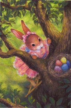 Susan Wheeler (b.1955) — Bunny Looking at Eggs in a Tree  (459×700)
