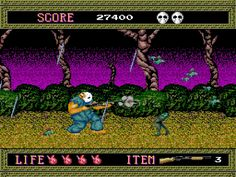 Spatter House for Turbo Grafx. This game scared the crap out of me, but I played it anyway. I still remember the noise he made when he got hurt.