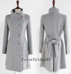 women's Fitted Wool autumn winter Pashm Coat jacket / dress Wool Jacket Women Coat grey Coat   S-XL