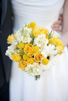 Yellow & white-this one has yellow roses, white stock, gerber daisy, ranunculus, & small yellow flowers?