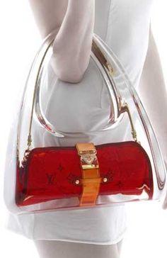 futuristic bag, transparent bag, Louis Vuitton bag, red bag, modern fashion, future, futuristic fashion