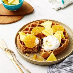 Coconut Lime Waffles with Tropical Fruit