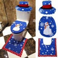 Product name:Christmas decoracion bathroom set Quantity         : 1lot=1pcs Toilet lid+1pcs Foot+1pc