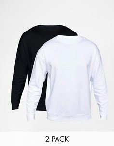 Sweatshirt im Set von ASOS weicher Sweatstoff Rundhalsausschnitt überschnittene Schulterpartien enge Abschlüsse an Bündchen und Saum übergroße, weite Passform Maschinenwäsche 100% Baumwolle Model trägt Größe M und ist 188 cm/6 Fuß 2 Zoll groß