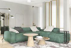 Living room. Project by NADIA MITŁOSZ & KARINA TUMOYAN / www.mitlosz.com#fireplace#carpet#sofa#glass#mirrors#sergemouille#lamp#greensofa#coffeetable#lema