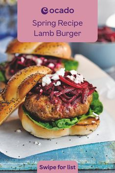 This recipe for lamb burgers with a seasonal beetroot and feta salad is perfect for popping on the barbecue this Spring. Top tip from us: the chickpeas make the lamb go further in this Mediterranean-inspired burger recipe. Lamb Burger Recipes, Gourmet Burgers, Lamb Recipes, Veggie Recipes, Cooking Recipes, Healthy Recipes, Supermarket Sweep, Herbert Lom, Strawberry Parfait