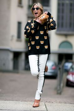 Pin for Later: Ciao, Milano! The Best Street Style From MFW MFW Day Three Helena Bordon in a Moschino sweater.