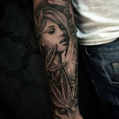 Realistic Grey Ink Marijuana Smoking Girl Drug Tattoo On Sleeve by ...