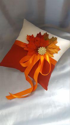 Fall Leaves Ring Bearer Pillow Orange Rust Ivory Autumn Colors Gold Rhinestone Leaf Burnt Weddingsorange