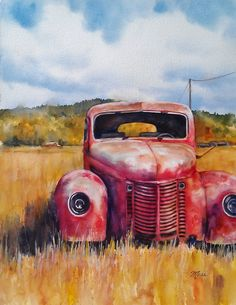 """Original Watercolor by Terry Moss 16X20 image.  I wanted to show you the process I went through to paint """"Rusty Red Truck""""   I started ..."""