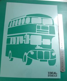London red bus stencil for home decor and art craft uses from Ideal Stencils - http://www.idealstencils.co.uk/london-red-bus-stencil-549-p.asp