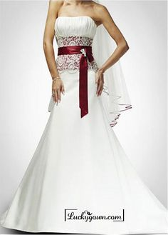 Beautiful Elegant Satin & Lace Mermaid/trumpet Strapless Wedding Dress In Great Handwork