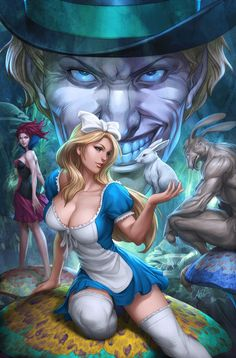 colors for alice being pulled into wonderland. my cover for Alice in Wonderland from Zenescope Comics Alice in Wonderland 1 colors Cartoon Cartoon, Cartoon Kunst, Comic Kunst, Sexy Cartoons, Animated Cartoons, Evvi Art, Stanley Lau, Alice In Wonderland 1, Graphic Novel
