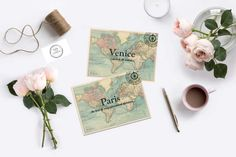 Wanderlust Vintage map table names or numbers cards 5x7