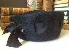 Vintage Black 100% Wool Felt Hat Handmade c 1940s / 1950s A lovely handmade black felted hat, with grosgrain ribbon and a little bling too