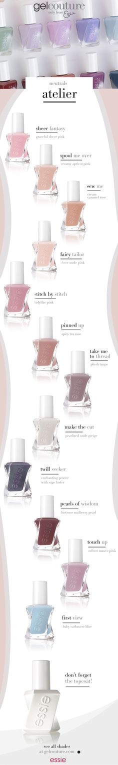 make a powerful statement in whisper soft essie neutrals. inspired by the atelier's go-to palette of tulle, fishnet and lace. these shades seamlessly fuse delicacy with quiet strength. from lustrous pearls and sheer veils to creamy silks, there's a shade of luxe for every heart's desire. essie 'atelier' collection.