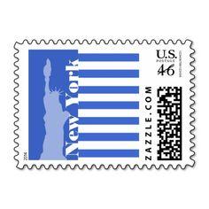 Han Blue Horizontal Stripes; New York Postage Stamp