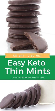 These Keto Thin Mints are sugar free cookies that everyone will love! My famous low carb and gluten-free Thin Mint Cookies are the perfect way to indulge in Girl Scout cookies without all the sugar and carbs. Keto Desserts, Keto Friendly Desserts, Keto Snacks, Plated Desserts, Oreo Dessert, Bon Dessert, Thin Mints, Keto Cookies, Fudge