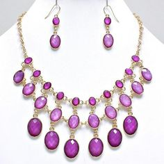 Shine Fuchsia Charm Statement Gold Chain Necklace Earrings Set Fashion Jewelry #uniklookjewelry
