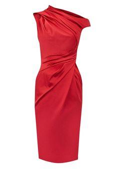 Red Ruffle Split Sleeve Knee Length Satin Dress