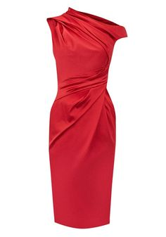 Red Ruffle Split Sleeve Knee Length Satin Dress