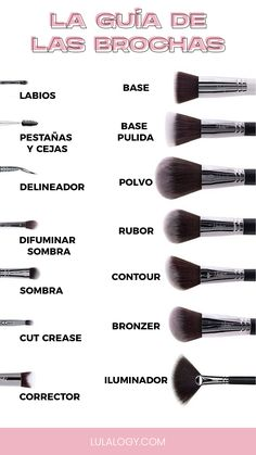 The brush guide- Use of Makeup Brushes. I leave you a guide of the uses and types of brushes necessary to make a complete makeup. - in 2020 Skin Makeup, Eyeshadow Makeup, Makeup Brushes, Beauty Makeup, Beauty Brushes, Anime Eye Makeup, Bronzer Makeup, Contouring Makeup, Beauty Skin